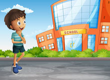 A young boy at the street across the school building vector illustration