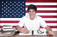 Young boy student on the background with american flag Royalty Free Stock Image