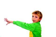 Young boy in studio in green cardigan on white background stock images