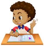 Young boy studying at desk. Illustration stock illustration