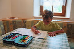 Young boy studying at home Stock Photos