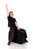 Young boy suitcase Royalty Free Stock Images