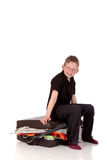 Young boy suitcase Stock Photo