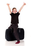 Young boy suitcase Stock Photography