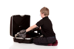 Young boy suitcase Royalty Free Stock Photos