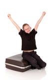 Young boy suitcase Stock Photos