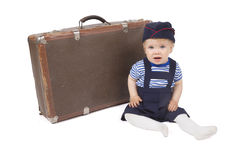Young boy with suitcases and boxes Stock Photos
