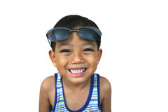Young boy with sunglasses. Young asian boy with sunglasses royalty free stock photography