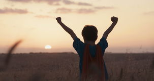 Young boy with a superhero cape stand in a golden wheat field during sunset. Young boy with a superman cape stand in a wheat field, raising his hands in victory stock video footage
