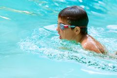 Young boy swimming. Close up of young boy swimming in pool Royalty Free Stock Photography