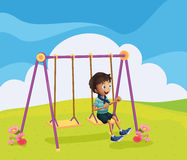 A young boy swinging. Illustration of a young boy swinging Stock Photography
