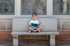 Young boy in t shirt reading book in a garden royalty free stock image