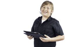 Young Boy on Tablet PC Laughing Stock Photos
