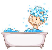 A young boy taking a bath Stock Image