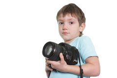 Young boy taking picture Stock Photos