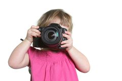 Young boy taking picture Stock Image