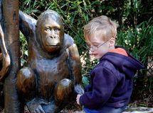 Young Boy at Zoo with Ape Statue Royalty Free Stock Photography