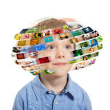 Young boy. Technology concept. royalty free stock image