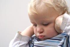 Young boy temper tantrum. Young boy not listening; temper tantrum royalty free stock photos