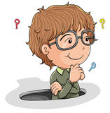 Young boy thinking. Illustration of a young boy thinking on a white background Royalty Free Stock Photos