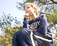 Young Boy Thinking royalty free stock photos