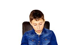 Young boy thinking Royalty Free Stock Photography