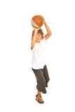 Young boy throwing basketball Royalty Free Stock Photo