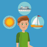 Young boy tourist traveler vacation icons design Royalty Free Stock Image