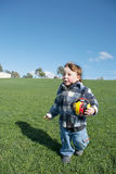 Young boy with toy soccer ball Royalty Free Stock Photo