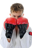Young boy training karate. Stock Image