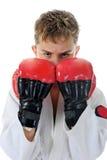 Young boy training karate. stock image