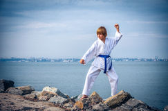 Young boy training karate Royalty Free Stock Images