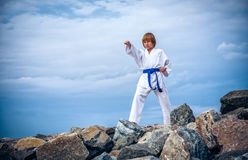 Young boy training karate Stock Image