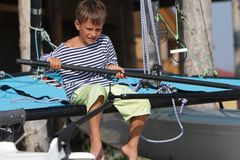 Young boy traveling on yacht Royalty Free Stock Images