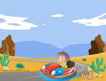 A young boy travelling at the desert. Illustration of a young boy travelling at the desert Stock Photos