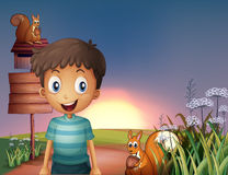 A young boy and two squirrels near the empty signage and the mai Stock Images