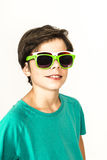 Young boy with two sunglasses Royalty Free Stock Image
