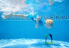 Young boy underwater in swimmi royalty free stock photography