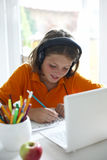 Young boy using a laptop royalty free stock photo