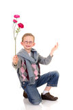 Young boy, valentine love stock image