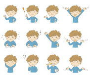 Young boy with various poses and emotions Stock Image