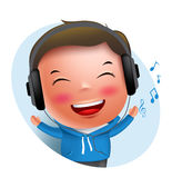 Young boy vector character listening to music in headset while singing. Isolated in white background. Vector illustration Royalty Free Stock Photo