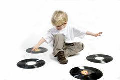Young boy with vinyl Stock Image