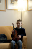 Young boy with violin Stock Photo