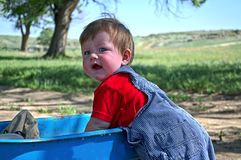 Young boy with wagon Stock Photos