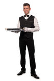 A young boy waiter with a tray Stock Photos