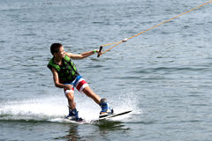 Young Boy on Wakeboard royalty free stock image