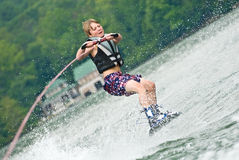 Young Boy Wakeboarding royalty free stock image