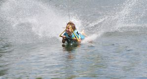 Young boy wakeboarding Stock Photo