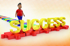 Young Boy Walk Towards Success Text In Halftone Royalty Free Stock Images